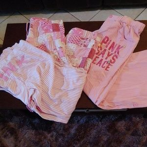 3 pair of PINK brand pajama bottoms